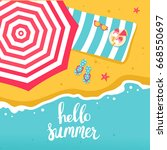 summer beach top view with... | Shutterstock .eps vector #668550697