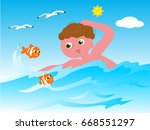 boy swimming in the sea with... | Shutterstock .eps vector #668551297