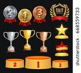 award trophies vector set.... | Shutterstock .eps vector #668559733