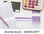 savings account pass book bank... | Shutterstock . vector #668563297