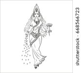 indian sketch.beautiful... | Shutterstock . vector #668566723