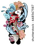 beautiful line art koi carp... | Shutterstock .eps vector #668567587