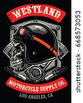skull of vintage racer   Shutterstock .eps vector #668573053