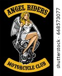 sexy angel and motorcycle engine | Shutterstock .eps vector #668573077
