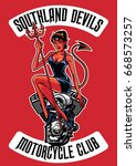 sexy devil with motorcycle... | Shutterstock .eps vector #668573257