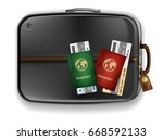 two passports with airplane... | Shutterstock .eps vector #668592133