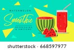 slices of watermelon with glass ... | Shutterstock .eps vector #668597977