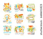 happy teachers day labels  set... | Shutterstock .eps vector #668601823