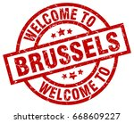 welcome to brussels red stamp | Shutterstock .eps vector #668609227