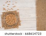 chickpeas in a glass bowl on...   Shutterstock . vector #668614723