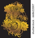 tattoo design the gold dragon... | Shutterstock .eps vector #668622007