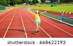 disabled girl have fun on the... | Shutterstock . vector #668622193
