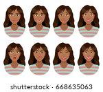women's emotions. female face...   Shutterstock .eps vector #668635063