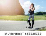 young woman doing exercises at... | Shutterstock . vector #668635183