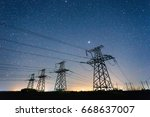 high voltage power lines on the ...