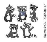set of raccoons in cartoon... | Shutterstock .eps vector #668638357