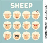 emoticons set face of sheep in... | Shutterstock .eps vector #668658937