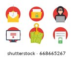 cyber crime hacking icons set.... | Shutterstock .eps vector #668665267