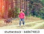 Happy Little Girl Walking With...