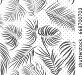 seamless hand drawn tropical... | Shutterstock .eps vector #668700703
