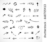 hand drawn arrows  vector set | Shutterstock .eps vector #668705413
