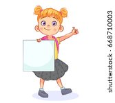 funny vector girl with a... | Shutterstock .eps vector #668710003