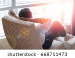 easy relax business man... | Shutterstock . vector #668711473