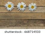 daisy flowers on wooden... | Shutterstock . vector #668714533