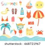 cute summer beach vector set... | Shutterstock .eps vector #668721967