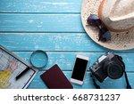 top view of traveler's... | Shutterstock . vector #668731237
