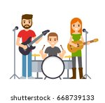 indie rock band  male and... | Shutterstock .eps vector #668739133