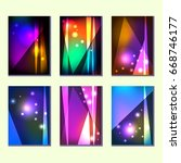a set of six colorful abstract... | Shutterstock .eps vector #668746177