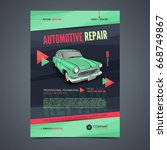 auto repair services layout... | Shutterstock .eps vector #668749867