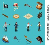 pirates isometric icons with... | Shutterstock .eps vector #668755693