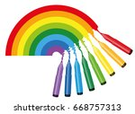 rainbow coloring picture  ... | Shutterstock .eps vector #668757313