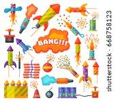 fireworks vector set...   Shutterstock .eps vector #668758123