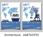 sea shipping banner with port... | Shutterstock .eps vector #668763553