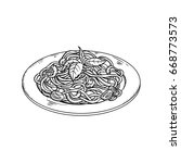 hand drawn pasta dish. sketch... | Shutterstock .eps vector #668773573