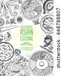 asian cuisine top view frame....   Shutterstock .eps vector #668788807