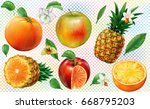 composition fruits of pineapple ... | Shutterstock .eps vector #668795203