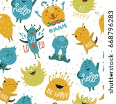 kids background with monsters... | Shutterstock .eps vector #668796283