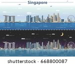 singapore city skyline at day... | Shutterstock .eps vector #668800087