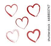 hand drawn valentine heart.... | Shutterstock . vector #668803747