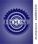 house emblem with jean texture | Shutterstock .eps vector #668805343