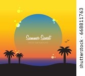 summer sunset invitation.... | Shutterstock .eps vector #668811763