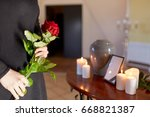 cremation  people and mourning... | Shutterstock . vector #668821387