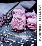 homemade marshmallows. pink...   Shutterstock . vector #668827807