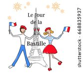 14th july. french translation... | Shutterstock .eps vector #668835937