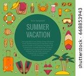 summer vacation beach icon... | Shutterstock .eps vector #668853943