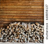 fire wood. home living concept...   Shutterstock . vector #668858137